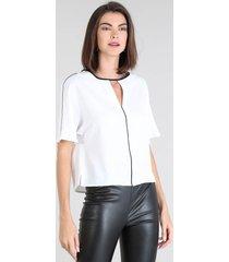blusa feminina ampla manga curta morcego branca