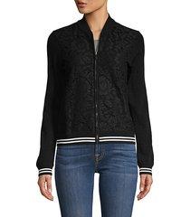 tonal print & stripe jacket