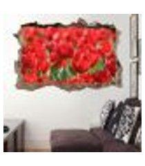 adesivo buraco na parede tulipas vermelhas - p 47x73cm
