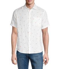 saks fifth avenue men's novelty lobster linen shirt - white - size l