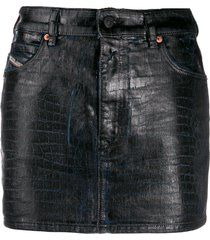 diesel crocodile effect jean skirt - blue