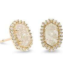 kendra scott 14k gold-plated cubic zirconia & stone stud earrings
