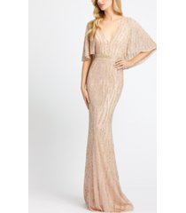 mac duggal cape-sleeve sequinned gown
