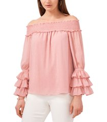 msk off-the-shoulder printed chiffon top