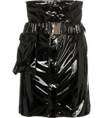 faith connexion high-waisted vinyl mini skirt - black