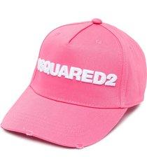 dsquared2 logo-appliqué cap - pink