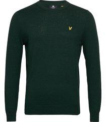 cotton merino crew jumper gebreide trui met ronde kraag groen lyle & scott