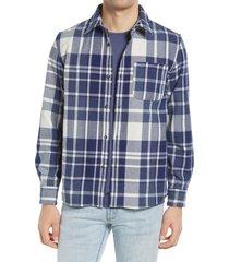 men's a.p.c. surchemise trek plaid wool blend shirt jacket, size medium - blue