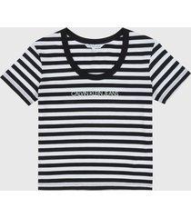 camiseta  negro-blanco calvin klein