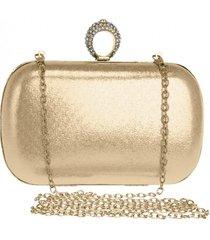 bolsa clutch liage alça removível tecido metalizado metal strass cristal pedra dourada - kanui