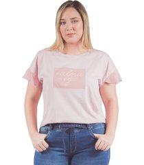 camiseta adrissa plus con bordado alma -ego palo de rosa