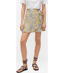 mango wrap floral mini skirt
