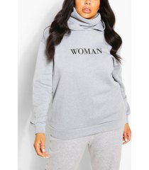 plus slogan hoodie with snood, grey