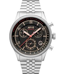 avi-8 men's flyboy silver-tone solid stainless steel bracelet watch, 42mm
