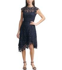 eliza j lace asymmetrical-hem midi dress