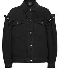 brennon denim jacket jeansjack denimjack zwart mother of pearl