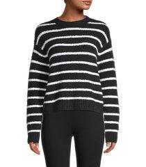 vince women's striped waffle-knit sweater - optic white - size xxs