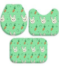 jogo tapetes love decor para banheiro cute easter verde único