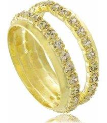 anel duplo com cristais 3rs semijoias dourado