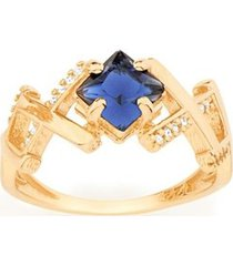 anel detalhes entrelaçados zircônias brancas e cristal rommanel
