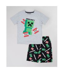 pijama infantil minecraft manga curta cinza mescla