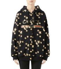 women's gucci star & moon print reversible cotton jersey sweatshirt