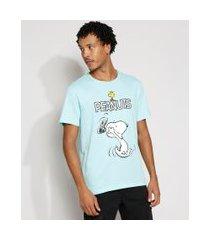 camiseta masculina manga curta snoopy gola careca azul claro