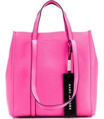 marc jacobs bolsa tote de couro com logo - rosa