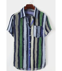 hombres verano algodón playa bolsillo de vacaciones bloque de color rayas bohemio camisa