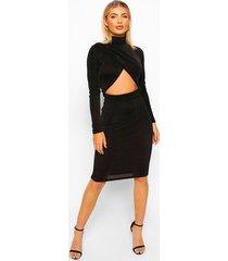 getextuurde strakke midi jurk met gekruiste bandjes, zwart