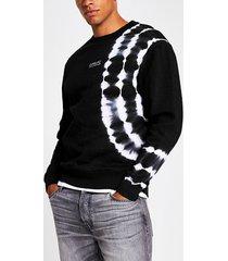 river island mens prolific black tye die slim fit sweatshirt