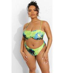 plus geplooide tropicana strapless bikini met bandjes, blue