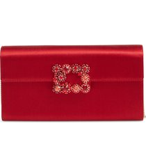 roger vivier flower buckle satin clutch - red