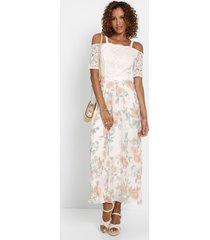 chiffon jurk met kant en bloemenprint
