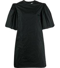 msgm puff sleeved taffeta dress - black