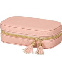 mele co. lucy travel jewelry case in textured pink vegan leather