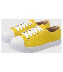 tênis casual sapatenis confort amarelo