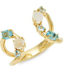 18k yellow gold, two-tone topaz & mother-of-pearl ring