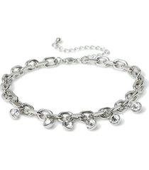 mens silver crystal anklet*