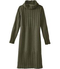 gebreide jurk met col uit lamswol, zeegras 40/42