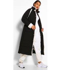 tall gewatteerde long line jas met contrasterende faux fur afwerking, zwart