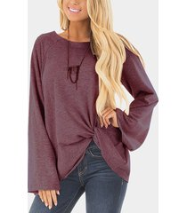 burgundy crossed front design plain round neck flared sleeves t-shirt