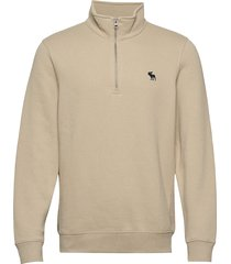 holiday core icon mock sweat-shirt tröja beige abercrombie & fitch