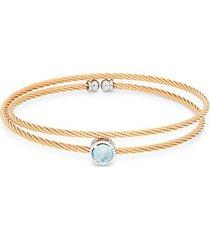 14k white & rose gold, stainless steel & blue topaz bracelet
