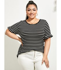 camiseta de manga corta con diseño de amarre a rayas de talla grande yoins