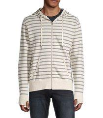 kinetix men's striped cotton hoodie - stone - size s