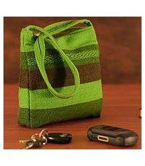 alpaca shoulder bag, 'green meadow' (peru)