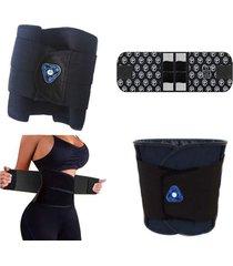 cinta modeladora lombar abdominal magnã©tica infravermelho reduz medidas afina cintura - preto - nylon - dafiti