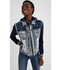bimaterial slim jean jacket - blue - 44