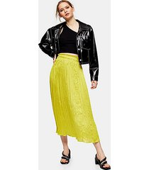 crushed satin pleated skirt - chartreuse